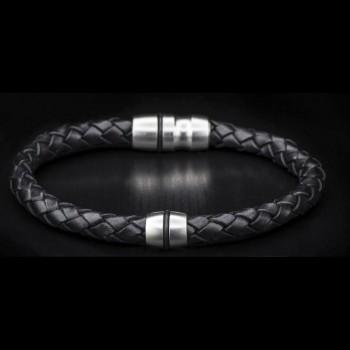 William Henry Pluto Black Braided Leather Bracelet - WH04934