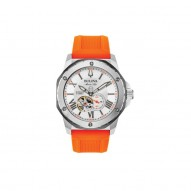Bulova Stainless Steel Marine Star Orange Watch