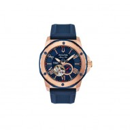 Bulova Stainless Steel Marine Star Rose Tone and Blue  Watch