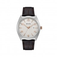 Bulova Stainless Steel Brown Leather Watch