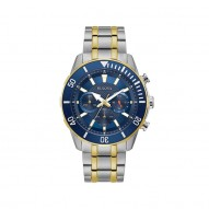 Bulova Stainless Steel Two Tone Blue Dial Chronograph Watch