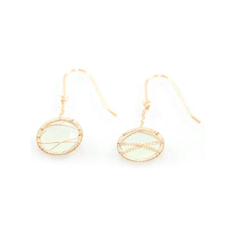 Rose Gold Over Sterling Silver Chalcedony Dangle Earrings