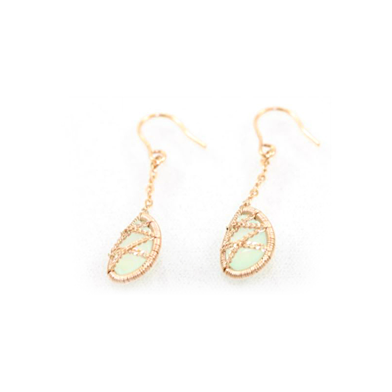 Rose Gold Over Sterling Silver Chalcedony Dangle Earrings