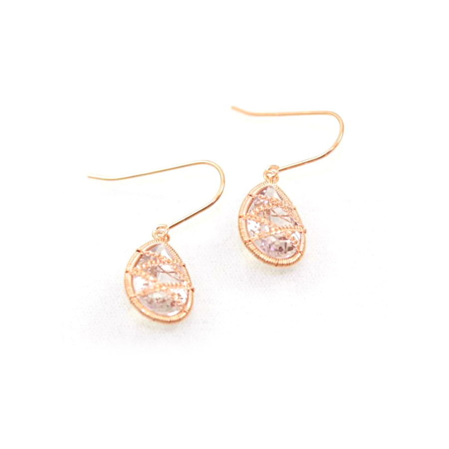 Rose Gold Over Sterling Silver Amethyst Dangle Earrings