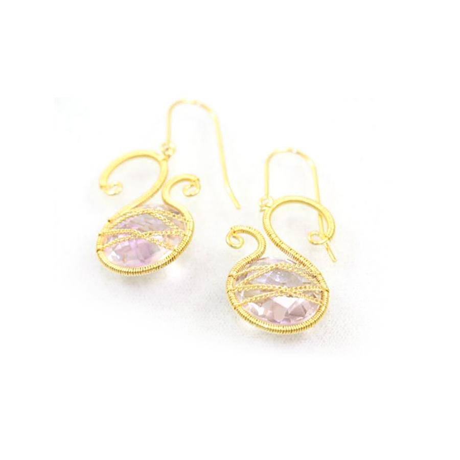 18 Karat Yellow Gold Over Sterling Silver Asymmetrical Amethyst Earrings