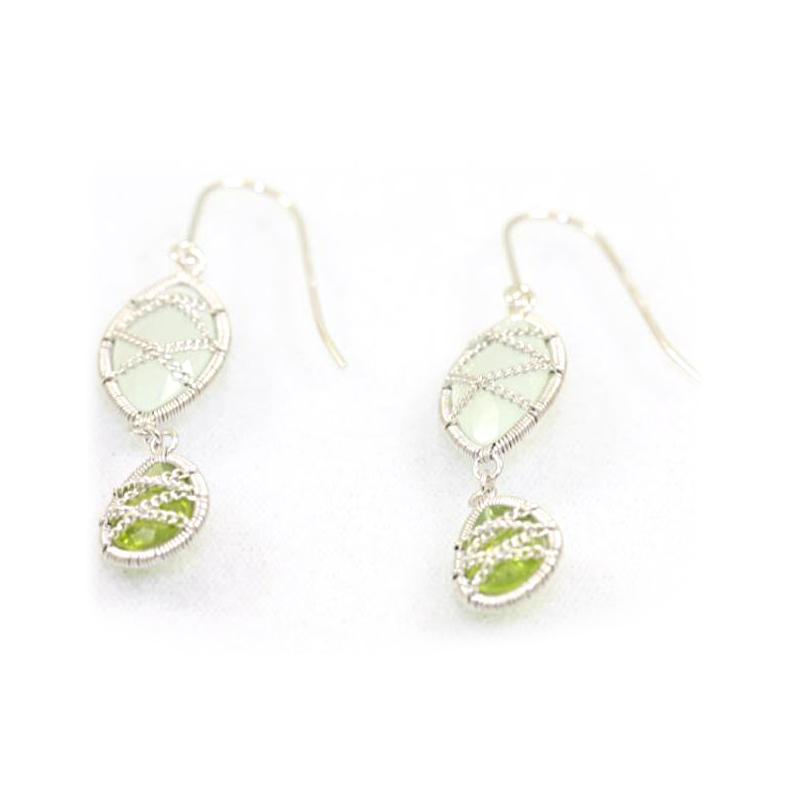 Sterling Silver Chalcedony and Peridot Dangle Earrings