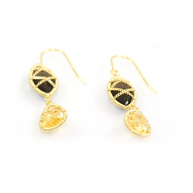 18 Karat Yellow Gold Over Sterling Silver Smoky Quartz and Citrine Dangle Earrings