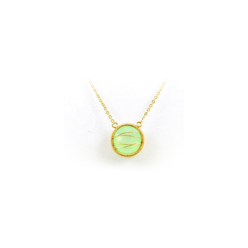 18 Karat Yellow Gold over Sterling Silver Chalcedony Pendant Necklace