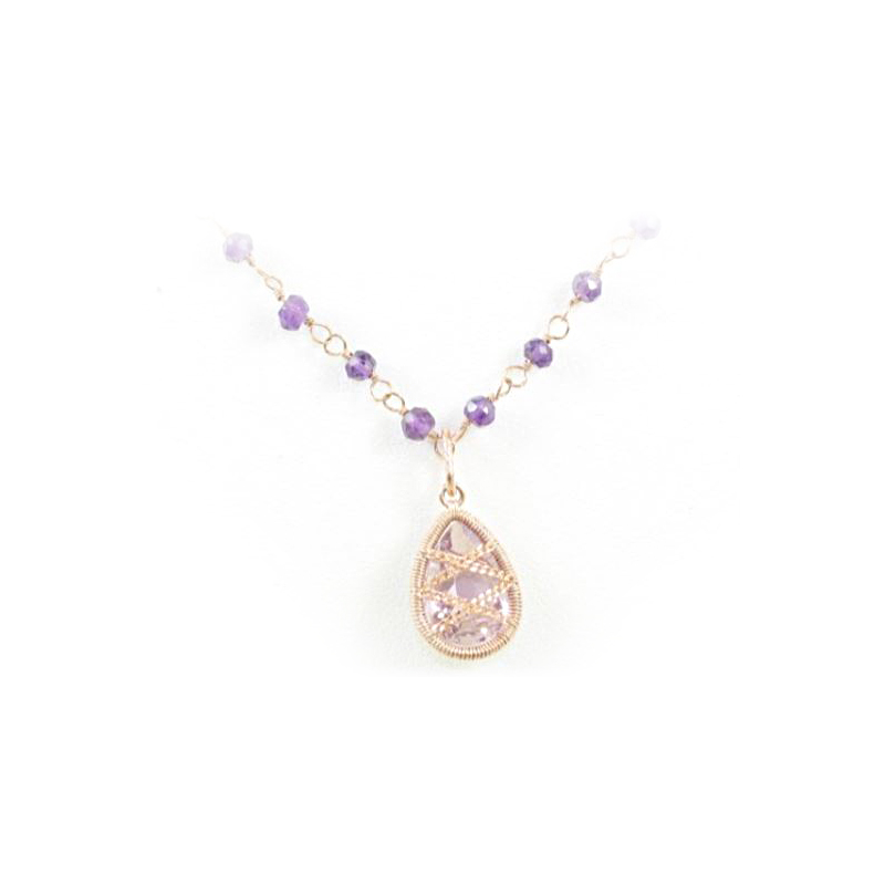Rose Gold Over Sterling Silver Amethyst Bead and Pendant Necklace