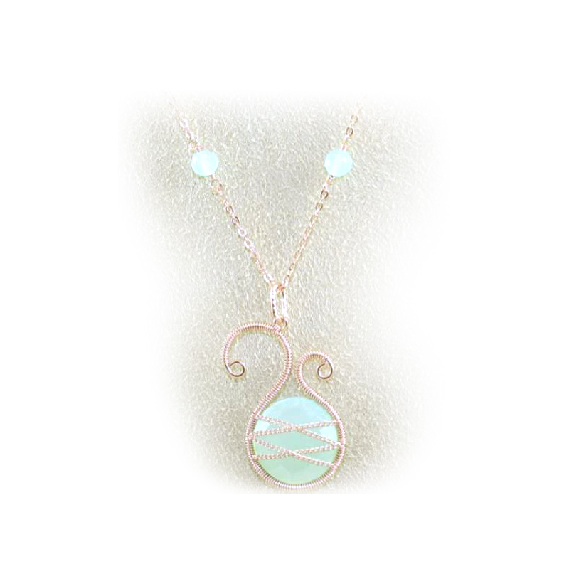 Rose Gold Over Sterling Silver Asymmetrical Chalcedony Pendant Necklace