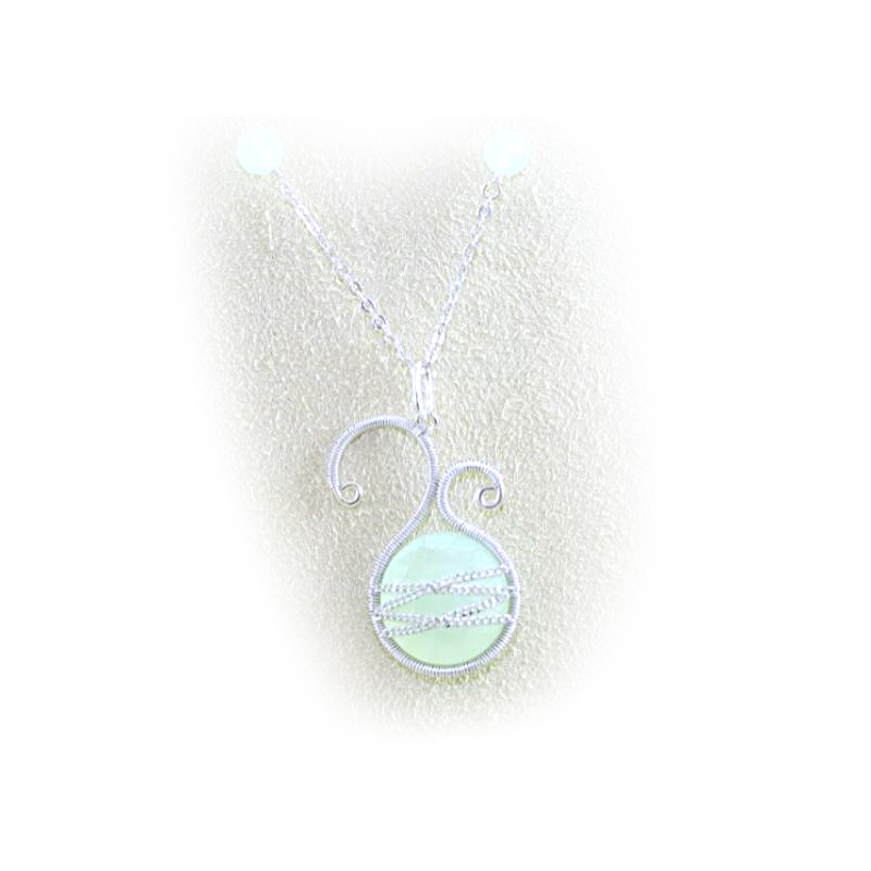 Sterling Silver Asymmetrical Chalcedony Pendant Necklace