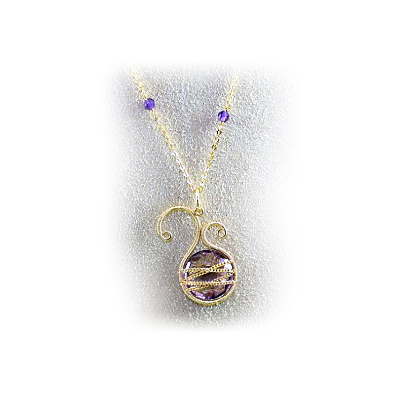 18 Karat Yellow Gold Over Sterling Silver Asymmetrical Amethyst Pendant Necklace