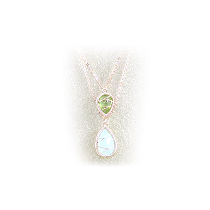 Rose Gold Over Sterling Silver Chalcedony and Peridot Pendant Necklace