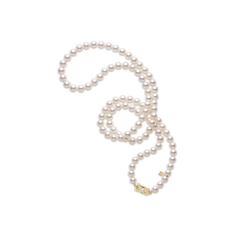 Mikimoto 7.5 by 7mm A1 30 inch pearl necklace with 18 karat yellow gold signature clasp.