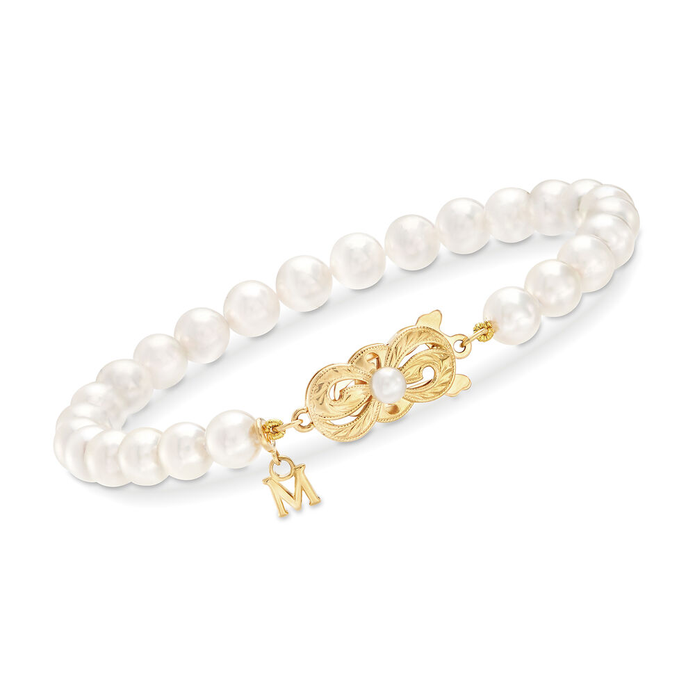 Mikimoto Lady's 18 Karat Yellow Gold A-1 Cultured Pearl Bracelet