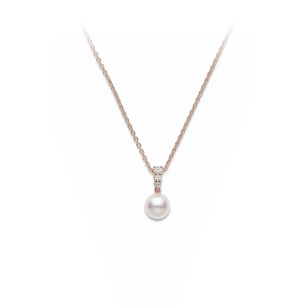 Mikimoto Lady's 18 Karat Rose Gold Single Pearl Necklace
