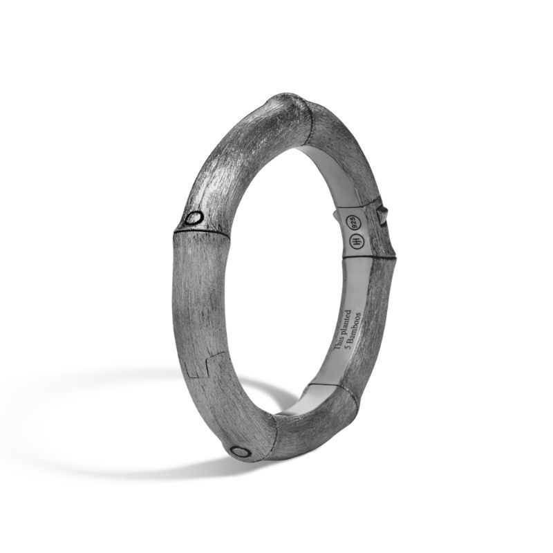 John Hardy Brushed Rhodium Plated Bamboo Bangle Bracelet