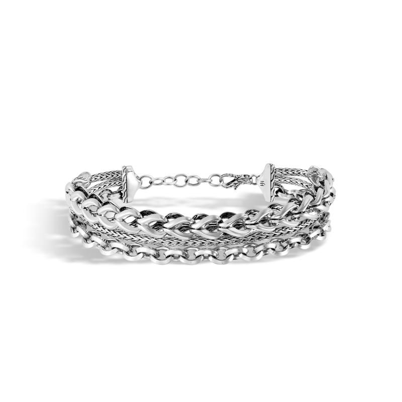 John Hardy Asli Classic Chain Link Silver Triple Row Bracelet