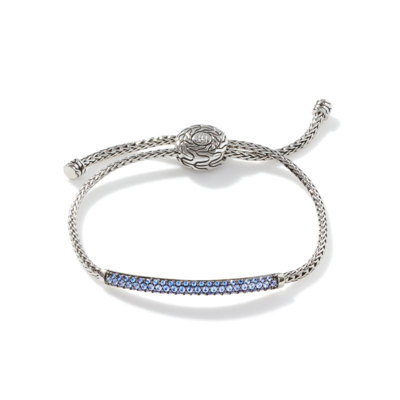 John Hardy Classic Chain Silver Mini Chain Pull Through Bracelet with Blue Sapphire