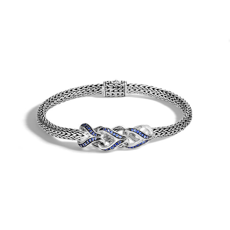 John Hardy Asli Classic Chain Link Silverbracelet with Blue Sapphires