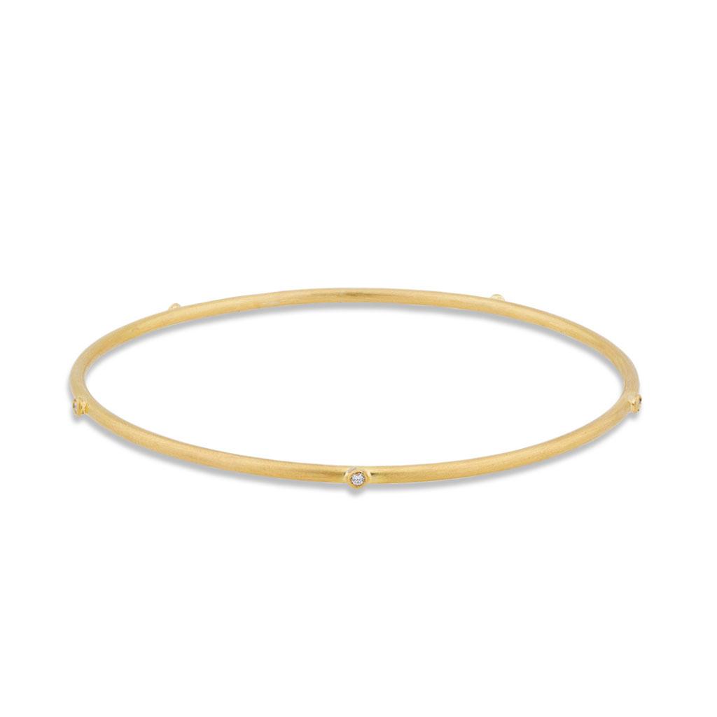 Lika Behar 22 Karat Yellow Gold Thin Bangle with Diamonds