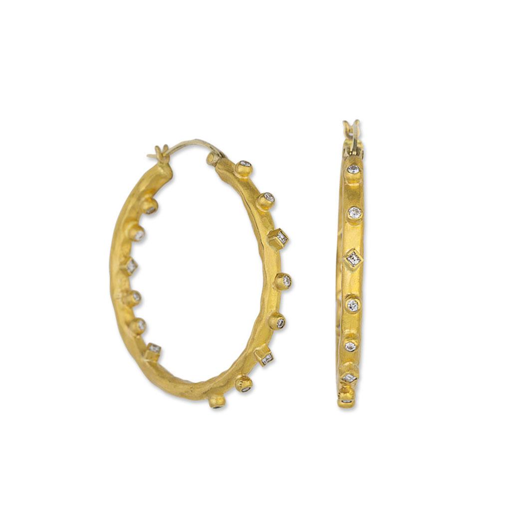 "Lika Behar 22 Karat Yellow Gold and Diamond ""Love"" Hoop Earring"
