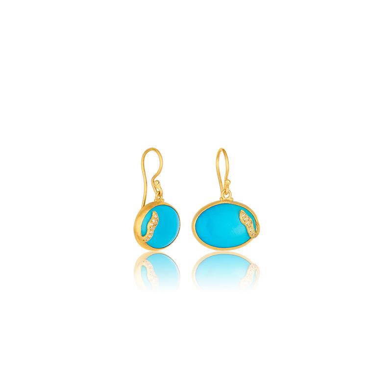 """Lika Behar 24 Karat Yellow Gold, Turquoise and Diamond """"Skye"""" Earrings"""