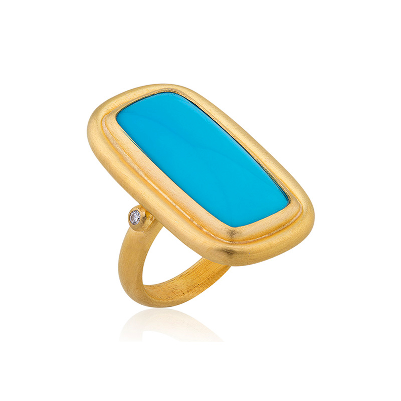 "Lika Behar 22 Karat Yellow Gold, Turquoise and Diamond ""Sloane"" Ring"