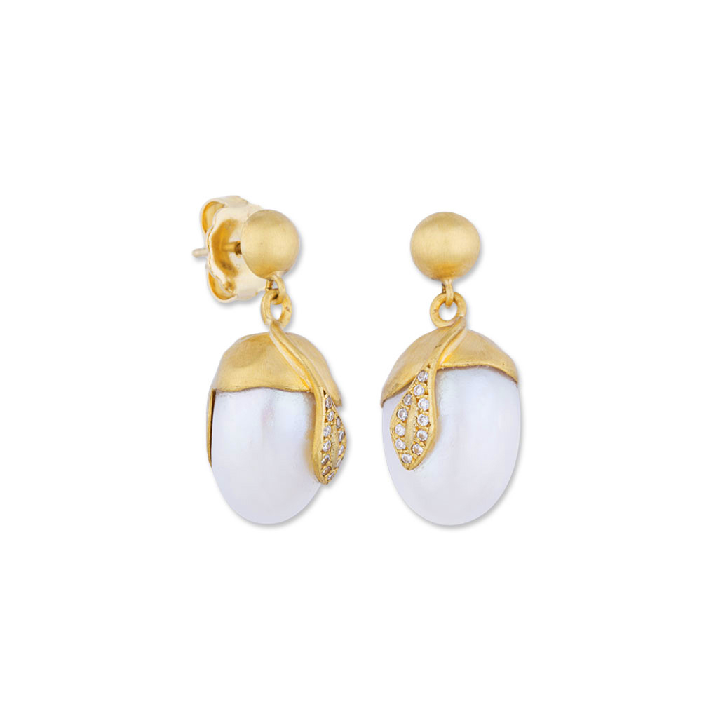 "Lika Behar 22 Karat Yellow Gold, Pearl and Diamond ""Lydia"" Earrings"