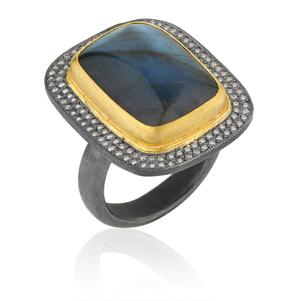 Lika Behar 24 Karat Yellow Gold and Oxidized Silver Labradorite Diamond Ring