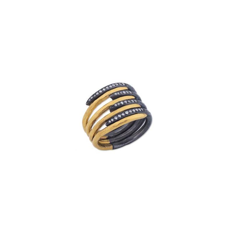 """Lika Behar """"Zebra"""" Eight Row Coil Ring"""