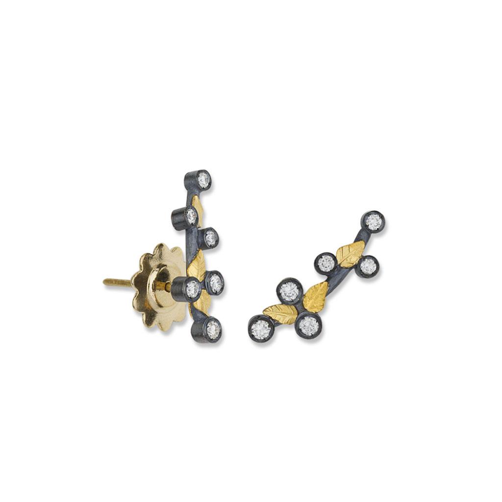 "Lika Behar 24 Karat Yellow Gold Oxidized ""Laurier"" Small Climber Earrings"