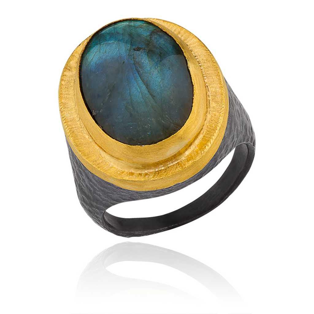 """Lika Behar 24 Karat Yellow Gold and Oxidized Silver Oval Labradorite """"Pompei"""" Ring"""