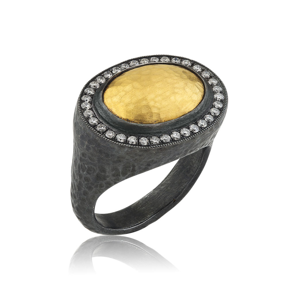 "Lika Behar 24 Karat Yellow Gold and Oxidized Silver ""Pompei"" Ring"