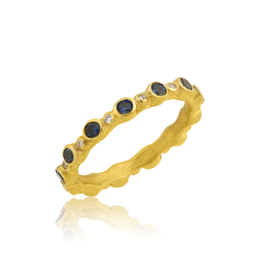 "Lika Behar 22 Karat Yellow Gold Diamond and Blue Sapphire ""Love"" Stackable Band"