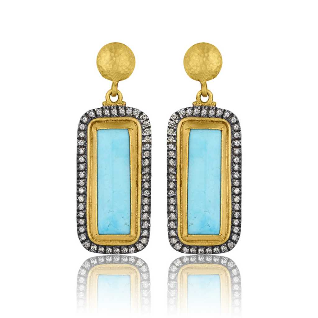 "Lika Behar 24 Karat Yellow Gold and Oxidized Silver Turquoise and Diamond ""My World"" Earrings"