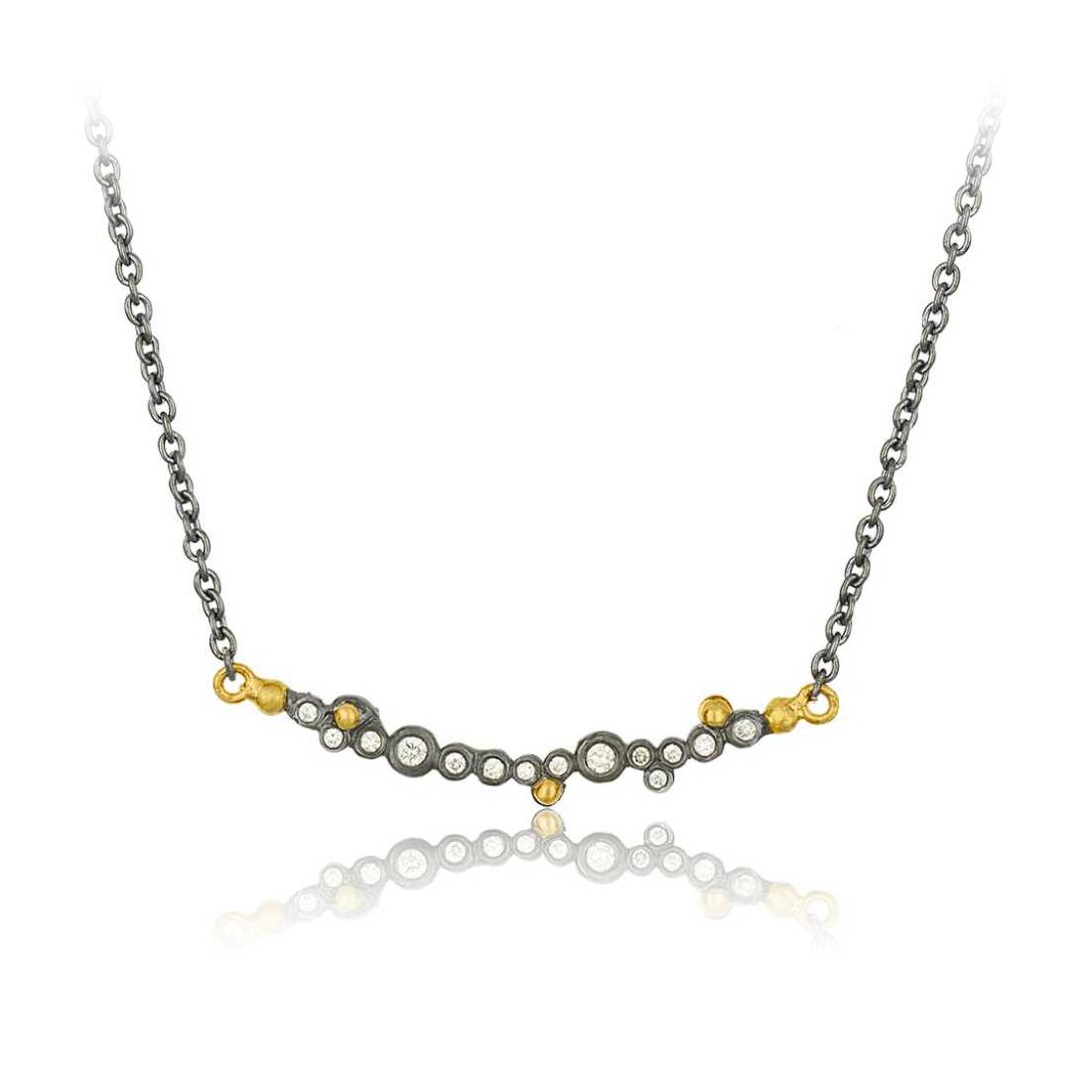 "Lika Behar 24 Karat Yellow Gold and Oxidized Silver Diamond ""Dylan"" Bar Necklace"