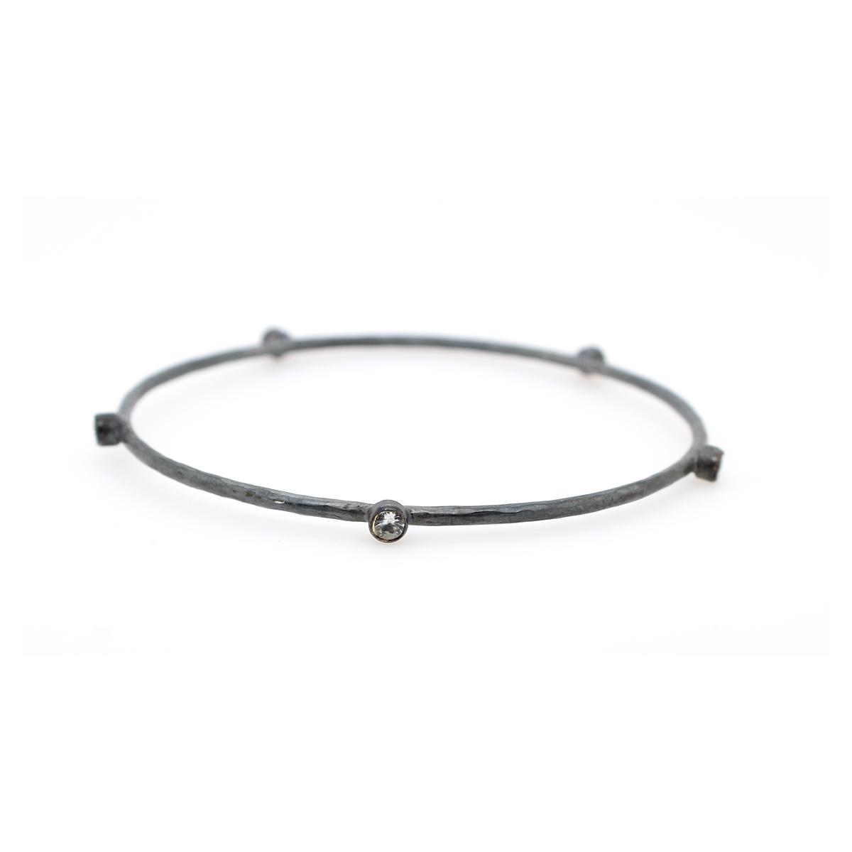 Lika Behar Oxidized Silver Five Sapphire Bangle
