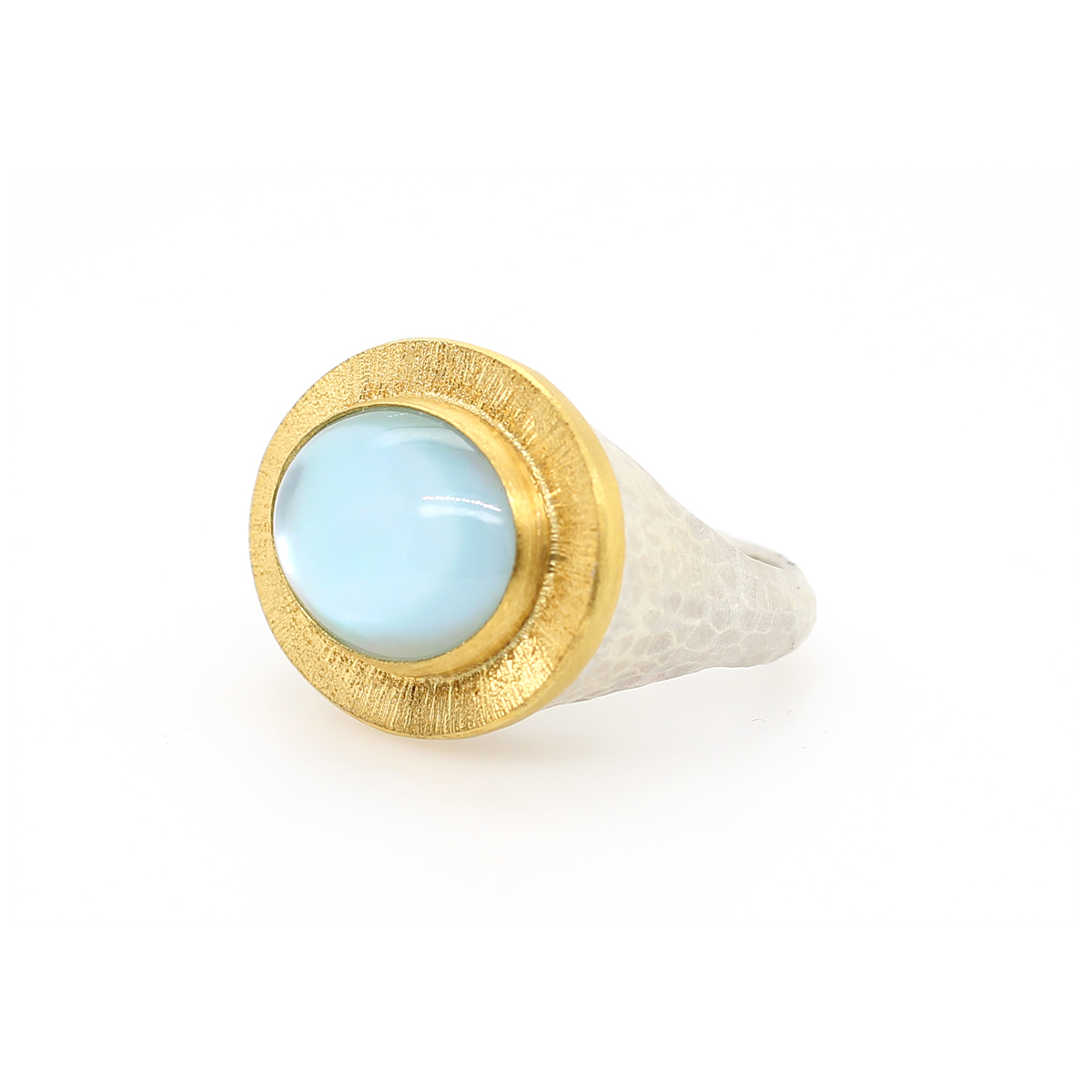 Lika Behar 24 Karat Yellow Gold and Sterling Silver Oval Blue Topaz Ring