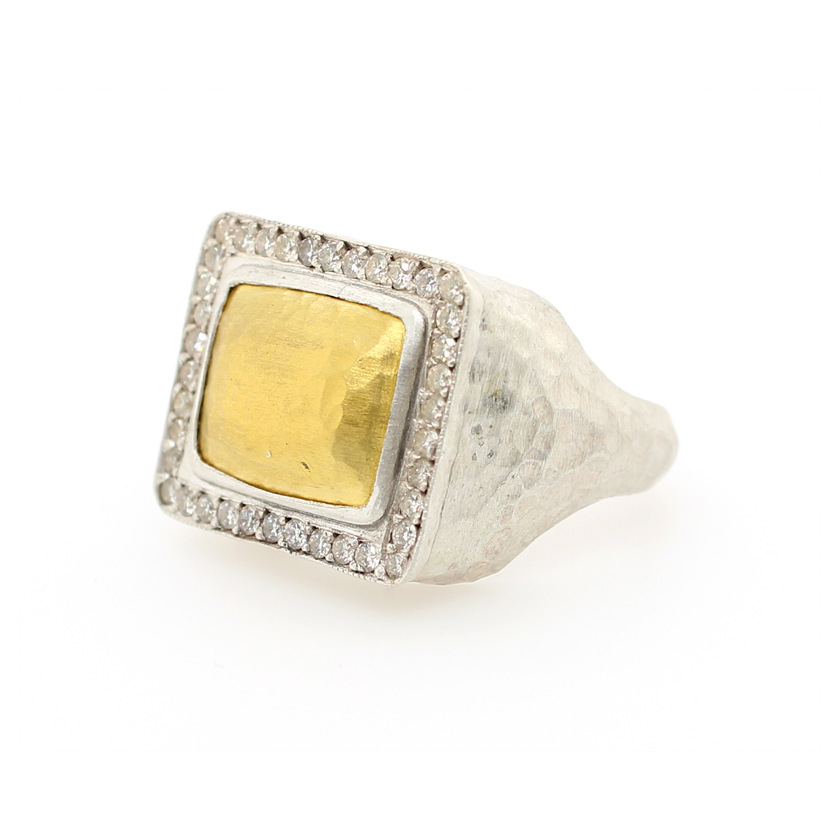 "Lika behar 24 Karat Yellow Gold and Silver Diamond ""Pompei"" Rectangular Ring"