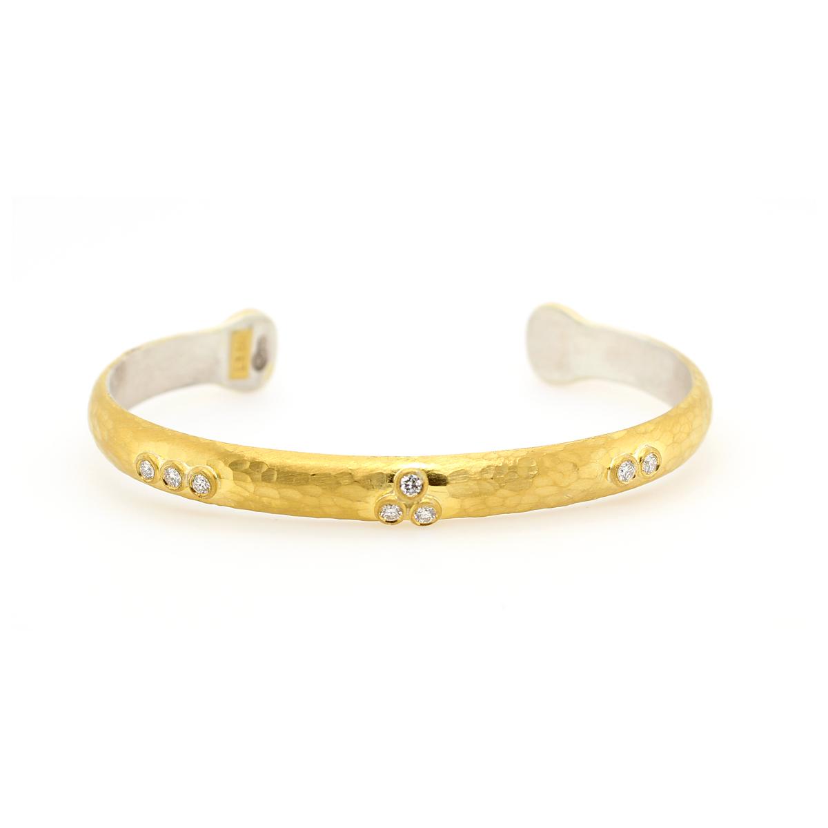 """Lika Behar 24 Karat/Sterling Silver Fused """"Random Walk"""" Cary Open Bracelet"""