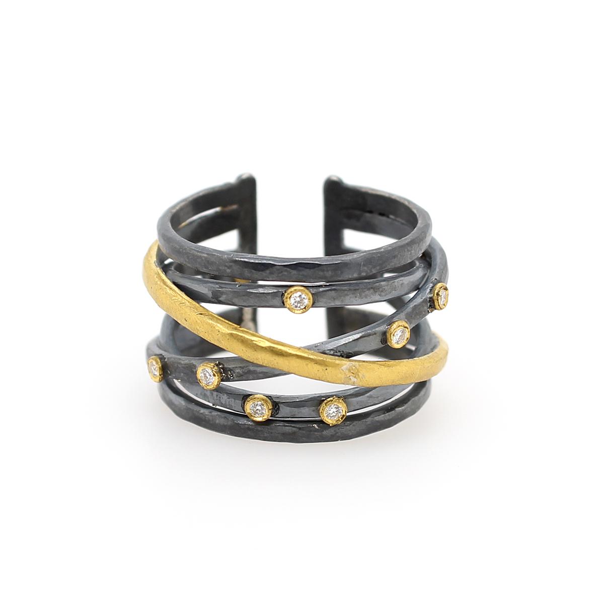 "Lika Behar 24 Karat Fusion Gold/Oxidized Silver Diamond ""Stockholm Crossover"" Open Back Ring"