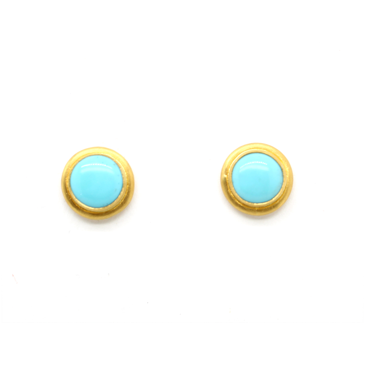 "Lika Behar 24 Karat Yellow Gold Turquoise ""My World"" Stud Earrings"