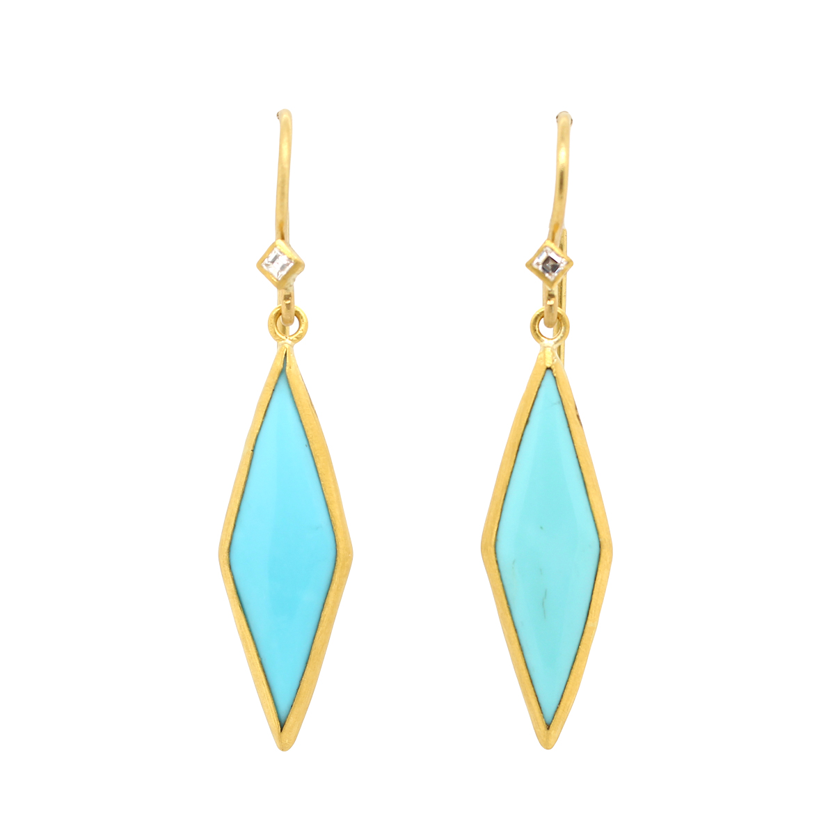 "Lika Behar 24 Karat Yellow Gold Turquoise ""Kite"" Earrings"