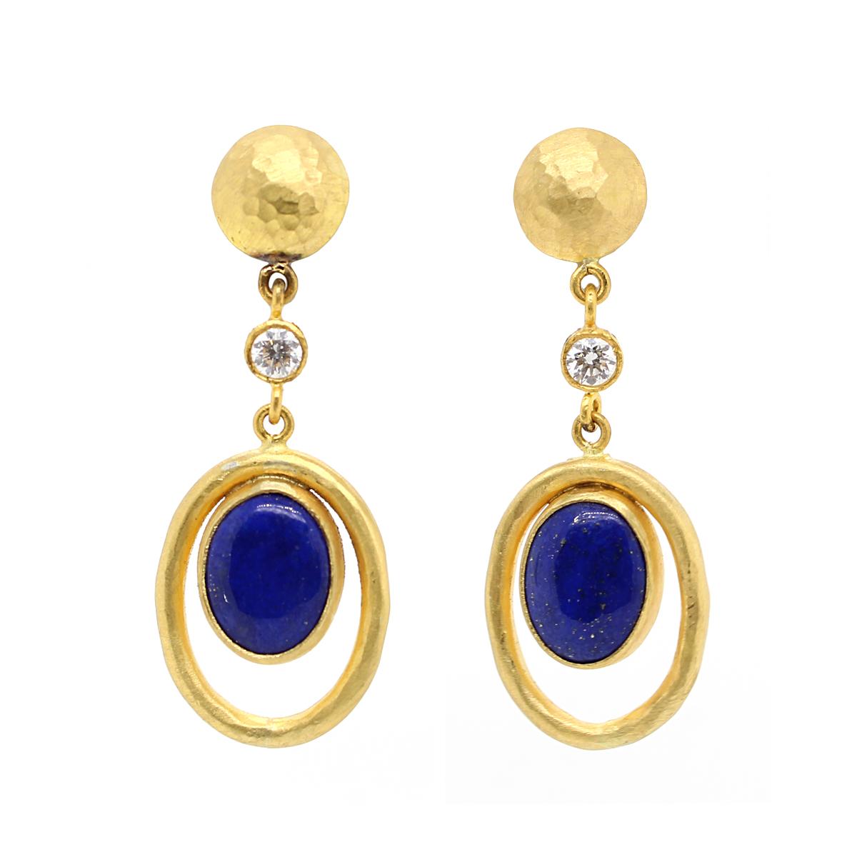 Lika Behar 22 Karat Yellow Gold Oval Lapis and Diamond Earrings
