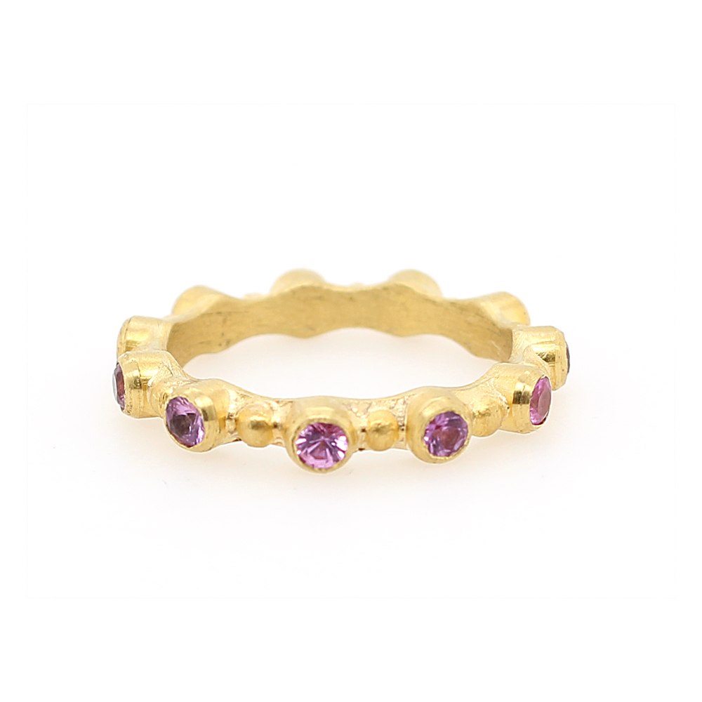 "Lika Behar 22 Karat Yellow Gold Pink Sapphire ""Love"" Stackable Band"