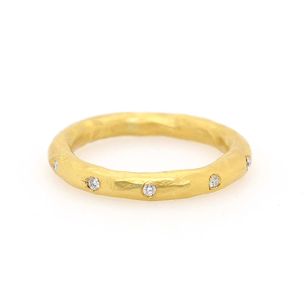 Lika Behar 24 Karat Yellow Gold Hammered Diamond Band