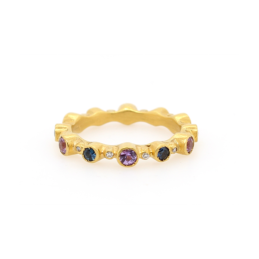 "Lika Behar 22 Karat Yellow Gold Blue and Pink Sapphire Diamond ""Love"" Stackable Ring"