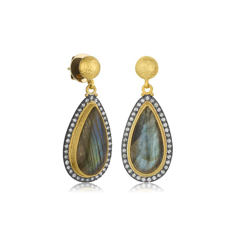 "Lika Behar Two-Metal Silver Labradorite and Gray Diamond ""Nightfall"" Collection Earrings"