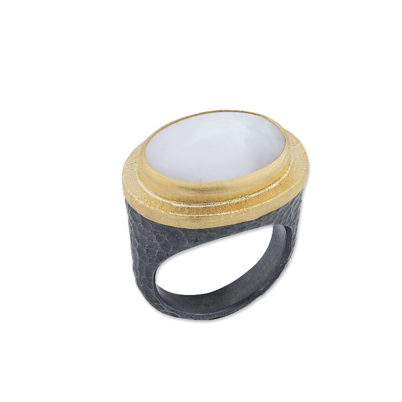 "Lika Behar Two-Metal Mother of Pearl ""Pompeii"" Collection Ring"